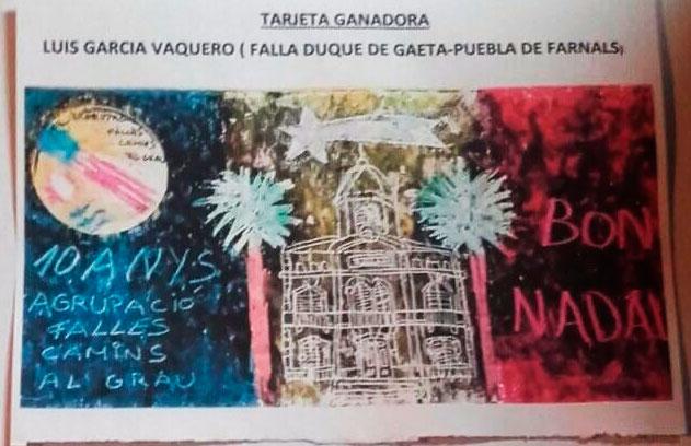 Luis García gana el concurso de tarjetas de Navidad de Camins al Grau