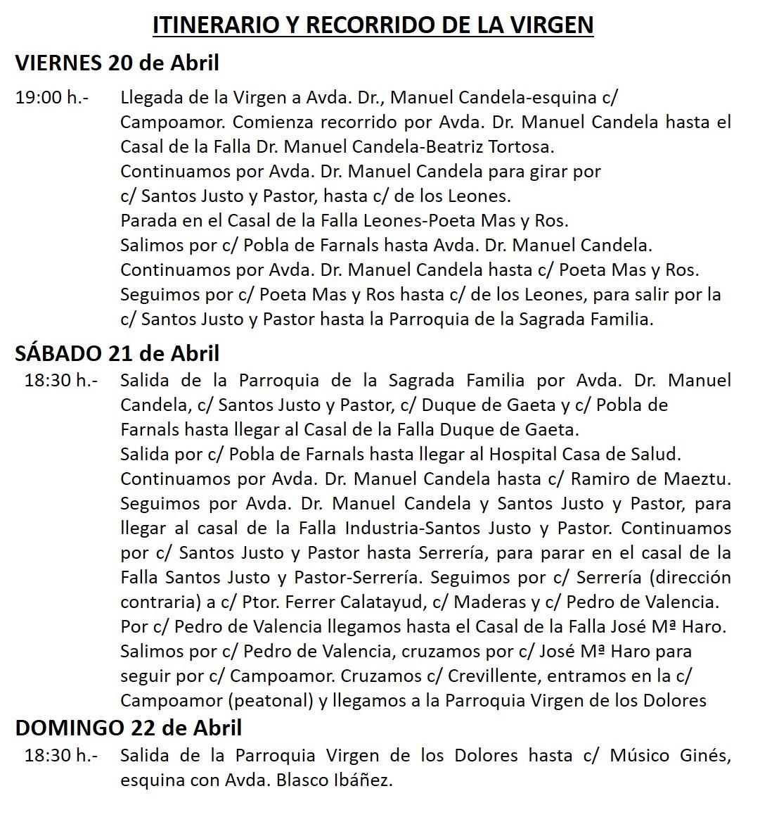 Visita de la Virgen de los Desamparados: Programa de Actos